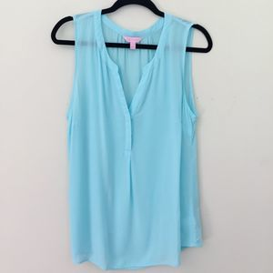 Lilly Pulitzer Blue Sleeveless Tank Top Blouse L